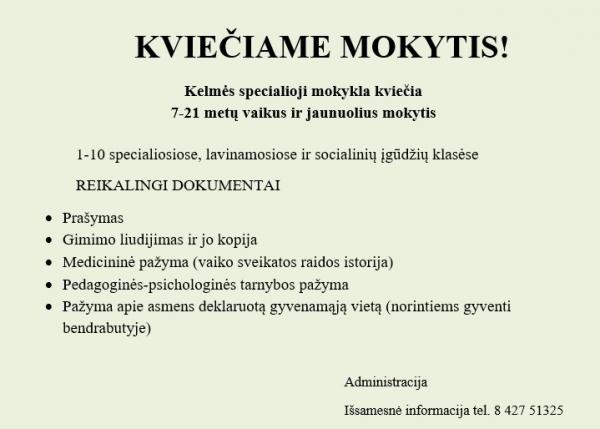 KVIEČIAME MOKYTIS!